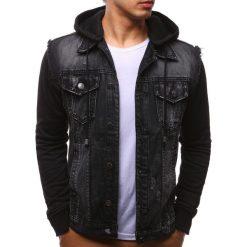 Kurtki męskie bomber: Kurtka męska jeansowa czarna (tx2161)