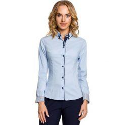Błękitna Klasyczna Koszula z Podwójnym Kołnierzykiem. Czerwone koszule damskie marki bonprix, na lato, w grochy, z dzianiny, z podwójnym kołnierzykiem, moda ciążowa, dopasowane. Za 99,90 zł.