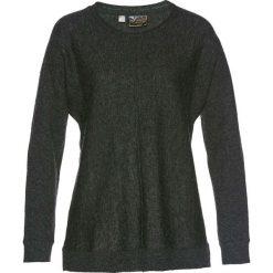 Sweter z domieszką kaszmiru bonprix antracytowy melanż. Szare swetry klasyczne damskie bonprix, z dzianiny, z okrągłym kołnierzem. Za 69,99 zł.