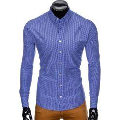 KOSZULA MĘSKA W KRATĘ Z DŁUGIM RĘKAWEM K426 - JASNOGRANATOWA/BIAŁA. Brązowe koszule męskie marki Ombre Clothing, m, z aplikacjami, z kontrastowym kołnierzykiem, z długim rękawem. Za 49,00 zł.