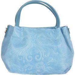 Torebki klasyczne damskie: Skórzana torebka w kolorze błękitnym – 22 x 21 x 13 cm