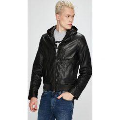 Trussardi Jeans - Kurtka skórzana. Czarne kurtki męskie bomber Trussardi Jeans, s, z jeansu, z kapturem. Za 1799,00 zł.