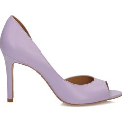 Buty ślubne damskie: Wrzosowe czółenka peep toe