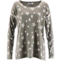 """Swetry klasyczne damskie: Sweter """"used look"""" bonprix jasnooliwkowy """"used"""""""