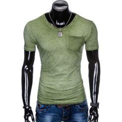 T-shirty męskie: T-SHIRT MĘSKI BEZ NADRUKU S674 - ZIELONY