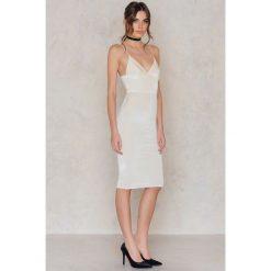 Sukienki hiszpanki: Rebecca Stella Sukienka midi Lovestoned Velour – Offwhite