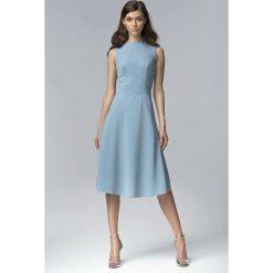 Niebieska Elegancka Rozkloszowana Midi Sukienka bez Rękawów. Niebieskie sukienki balowe Molly.pl, na imprezę, l, z tkaniny, z dekoltem na plecach, bez rękawów, midi, dopasowane. Za 145,90 zł.