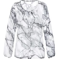 Tuniki damskie z długim rękawem: Tunika bluzkowa bonprix biało-srebrnoszary z nadrukiem