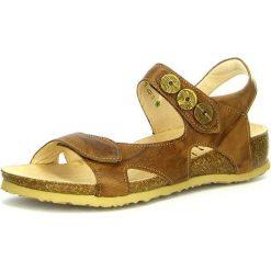 """Rzymianki damskie: Skórzane sandały """"Julia"""" w kolorze jasnobrązowym"""