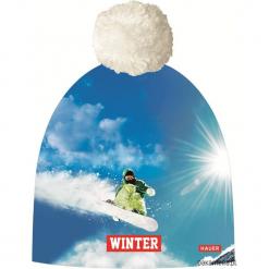 Czapka Magic Fun SNOWBOARD. Niebieskie czapki damskie Pakamera, z nadrukiem, z dzianiny. Za 79,00 zł.