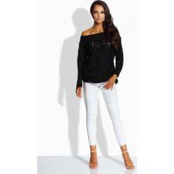 Odzież damska: Czarny Sweter z Ażurowym Wzorem