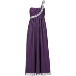 Długa sukienka na jedno ramię bonprix jagodowy. Czarne długie sukienki marki bonprix, z szyfonu, wizytowe, z długim rękawem, rozkloszowane. Za 74,99 zł.