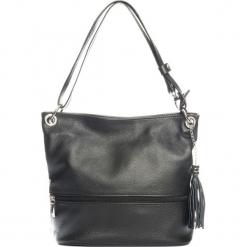 Skórzana torebka w kolorze czarnym - 35 x 50 x 12 cm. Czarne torebki klasyczne damskie Mia Tomazzi, z aplikacjami, z materiału. W wyprzedaży za 318,95 zł.