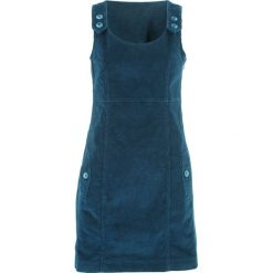 Sukienka sztruksowa bonprix ciemnoniebieski. Niebieskie sukienki na komunię marki bonprix, z nadrukiem, na ramiączkach. Za 109,99 zł.