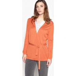 Swetry damskie: Cienki, rozpinany sweter, wiązany