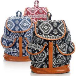 Plecaki damskie: DUŻY PLECAK DAMSKI AZTECK STYLE CZERWONY