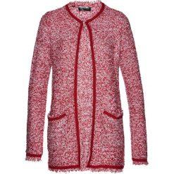 Płaszcze damskie: Płaszcz dzianinowy bonprix ciemnoczerwono-biały
