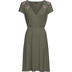 Sukienki: Sukienka kopertowa z dżerseju z koronką bonprix oliwkowy
