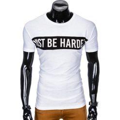 T-shirty męskie: T-SHIRT MĘSKI Z NADRUKIEM S977 - BIAŁY
