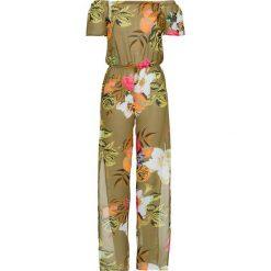 Kombinezony damskie: Kombinezon plażowy z długimi nogawkami bonprix oliwkowy w kwiaty