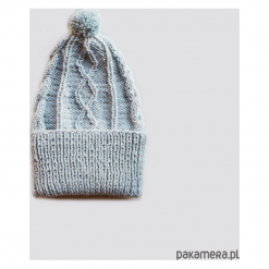 Wywijana wełniana czapka z pomponem. Niebieskie czapki zimowe damskie marki WED'ZE, z materiału. Za 150,00 zł.