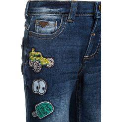 Mothercare BADGE TURN UP Jeansy Slim Fit denim. Niebieskie jeansy dziewczęce mothercare, z bawełny. Za 129,00 zł.