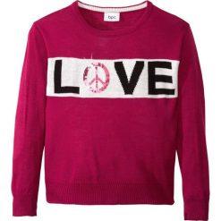 Sweter dzianinowy z cekinami bonprix jeżynowo-biel wełny. Szare swetry dziewczęce marki bonprix, m, melanż, z dzianiny, z kontrastowym kołnierzykiem. Za 59,99 zł.