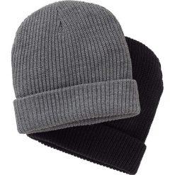 Czapka dzianinowa męska (2 części) bonprix czarny + szary. Szare czapki zimowe męskie marki bonprix. Za 39,98 zł.