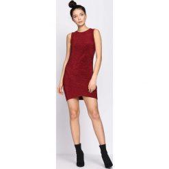 Bordowa Sukienka Exhilaration. Czerwone sukienki mini marki Born2be, s, z okrągłym kołnierzem, bez rękawów, dopasowane. Za 69,99 zł.