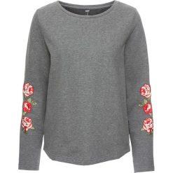 Bluzy damskie: Bluza z aplikacjami bonprix szary melanż