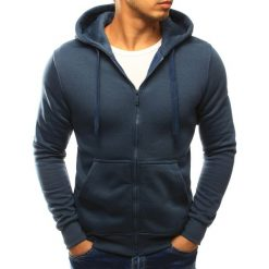 Bluzy męskie: Bluza męska rozpinana niebieska (bx3027)