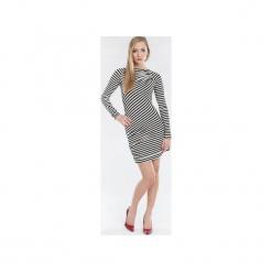 Sukienka z marszczeniami SL2147. Czarne sukienki dzianinowe marki Soleil, na imprezę, s, w kolorowe wzory, z długim rękawem, mini, dopasowane. Za 99,00 zł.