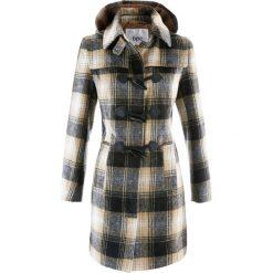 Płaszcz z kapturem bonprix beżowy w kratę. Brązowe płaszcze damskie pastelowe bonprix. Za 199,99 zł.