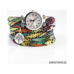 Bransoletki damskie na nogę: Zegarek, bransoletka - Kolorowy boho - owijany