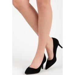Buty ślubne damskie: CZÓŁENKA DAMSKIE NA OBCASIE - czarny