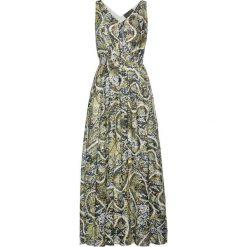 Długie sukienki: Długa sukienka z nadrukiem bonprix khaki-złoty