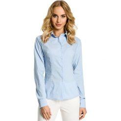 DESTANEE Tradycyjna koszula z ozdobną tasiemką - błękitna. Niebieskie koszule damskie Moe, biznesowe. Za 119,00 zł.