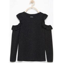 T-shirty dziewczęce: Bluzka typu hiszpanka - Czarny