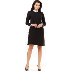 Czarna Sukienka Wizytowa z Białym Kołnierzykiem i Mankietami. Czarne sukienki koktajlowe marki Reserved. Za 149,90 zł.
