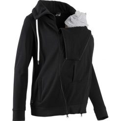 Bluza rozpinana ciążowa z wstawką niemowlęcą na nosidełko bonprix czarny. Czarne bluzy ciążowe marki bonprix, s, z dresówki. Za 149,99 zł.