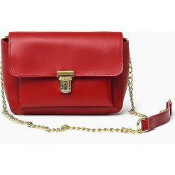Włoska skórzana torebka CHANELKA czerwona. Czerwone listonoszki damskie Vera Pelle, w paski, ze skóry. Za 159,90 zł.