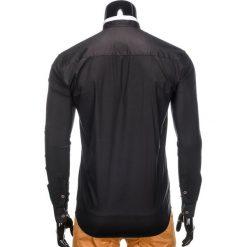 KOSZULA MĘSKA Z DŁUGIM RĘKAWEM K303 - CZARNA. Brązowe koszule męskie na spinki marki Ombre Clothing, m, z aplikacjami, z kontrastowym kołnierzykiem, z długim rękawem. Za 39,99 zł.