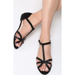Sandały damskie: Czarne Sandały Fake Love