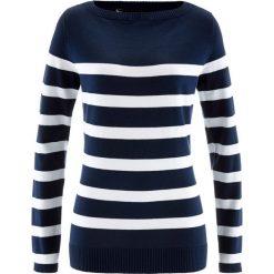 Sweter z dekoltem w łódkę, długi rękaw bonprix ciemnoniebiesko-biały w paski. Niebieskie swetry klasyczne damskie bonprix, z dzianiny, z dekoltem w łódkę. Za 59,99 zł.