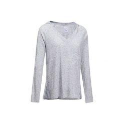 Koszulka z długim rękawem Gym. Czarne bluzki sportowe damskie marki DOMYOS, z elastanu. W wyprzedaży za 39,99 zł.