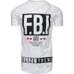 T-shirty męskie z nadrukiem: T-shirt męski z nadrukiem biały (rx2215)