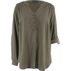 Tunika, długi rękaw bonprix ciemnooliwkowy. Zielone tuniki damskie z długim rękawem bonprix. Za 74,99 zł.