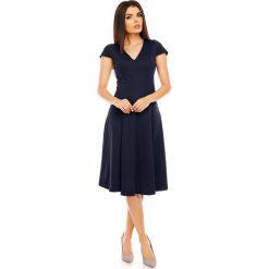 Granatowa Elegancka Rozkloszowana Sukienka z Mini Rękawkiem. Niebieskie sukienki balowe marki Molly.pl, l, midi, oversize. W wyprzedaży za 120,81 zł.