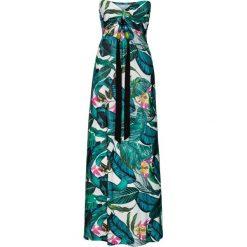 Długie sukienki: Długa letnia sukienka bonprix zielony w kwiaty