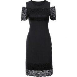 Sukienki hiszpanki: Sukienka w prążek z koronką bonprix czarny